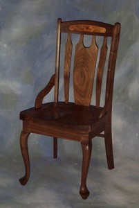 Queen Anne Lumbar Chair with Burl