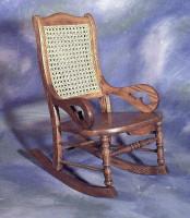 Child's Solid Seat, Cane Back Rocker