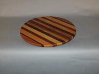 "Multi wood Lazy Susan <br>16"" round <br>$ 128.00"