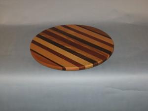 "Multi wood Lazy Susan 16"" round $ 128.00"